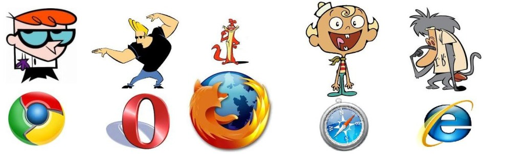 If a cartoon character had to represent each browser - ie would be a brain dead monkey